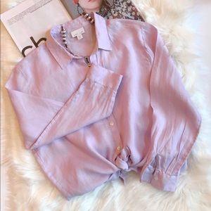 J. Jill Lilac Love Linen Button Down Shirt Sp